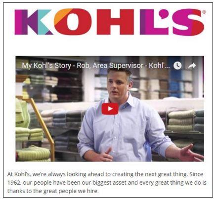 Kohl's job description on Snagajob
