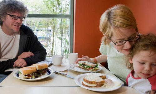 Family dining at restaurant