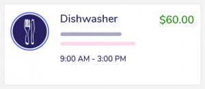 This is an example of a 6 hour dishwasher shift that pays $60.